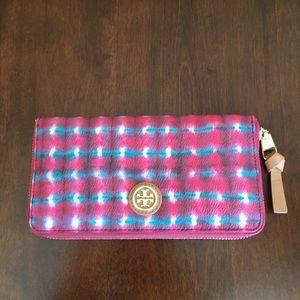 Tory Burch Kerrington Sonda Pink Blue Wallet *EUC